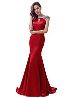 Formal Evening Dress Trumpet / Mermaid Jewel Sweep / Brush Train Satin with Beading