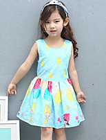 Girl's Print Dress,Cotton Rayon Summer Sleeveless