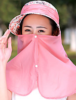 Women 's Summer Outdoor Sunscreen Folding Printed Zipper Protection Neck Face Masks of Mountain Biking Sun Hat