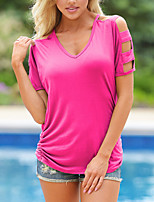 Women's Going out Casual/Daily Simple Street chic Cut Out All Match Fashion Classic Summer Fall T-shirtSolid Round Neck Short Sleeve Medium