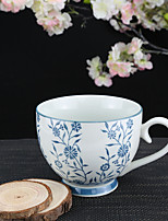 Blue Florists Dendranthema Flower High Temperature Porcelain Tea Cup/Coffee Mug 330 ml