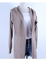 Longue Pullover Femme Sortie Décontracté / Quotidien TravailCouleur Pleine Capuche Manches Longues Coton Automne Hiver Moyen