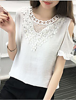 Women's Casual/Daily Sexy Spring Fall T-shirtSolid Round Neck Long Sleeve White Black Polyester Medium