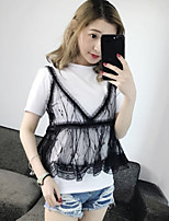 Women's Casual/Daily Simple Cute Street chic Summer T-shirt,Solid Round Neck Short Sleeve Cotton Medium