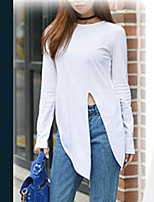 Long-sleeved T-shirt knotted hem
