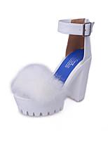 Белый Черный-Для женщин-Для прогулок Для праздника-Мех Полиуретан-На толстом каблуке Блочная пятка-Удобная обувь-Обувь на каблуках