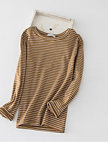 Women's Going out Casual/Daily Vintage T-shirt,Striped Round Neck Long Sleeve Cotton
