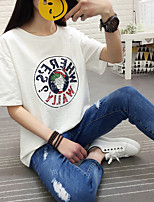 Sign 2017 female bamboo cotton short-sleeved cotton T-shirt with white letters loose T-shirt printing summer influx