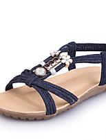 Damen-Sandalen-Outddor Lässig-Denim Jeans-Flacher Absatz-Fersenriemen Gladiator Leuchtende Sohlen-Schwarz Dunkelblau