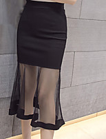 Women's High Rise Casual/Daily Work Midi Skirts,Simple Boho Bodycon Tulle Solid Summer
