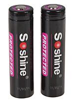 Soshine 2pcs 3100mah protégé 18650 3.7v Li-ion batterie rechargeable au lithium avec boîtier de batterie