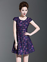 Women's Going out Party Sheath Dress,Embroidered Round Neck Above Knee Short Sleeve Polyester Nylon Summer Mid Rise Micro-elastic Medium