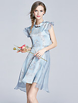 EWUS/Women's Going out Casual/Daily Cute Sheath DressPrint Stand Above Knee Sleeveless Polyester Spring Summer Mid Rise Micro-elastic Thin