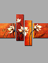 Hand-Painted Abstract Flowers Set Modern Four Panels Canvas Oil Painting For Home Decoration