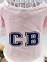 Chien Tee-shirt Vêtements pour Chien Printemps/Automne Rayure Mignon Vert Rose