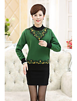 Women's Casual/Daily Simple Regular Cashmere,Floral Round Neck Long Sleeve Wool Spring Medium Micro-elastic