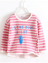 Casual/Daily Striped Blouse,Cotton Spring Fall Long Sleeve Regular