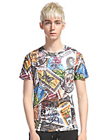 Men's Casual/Daily Club Holiday Punk & Gothic T-shirt,Print Round Neck Short Sleeve Cotton