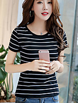 Han mold real shot 2017 summer new Korean fashion Slim round neck striped short-sleeved t-shirt women