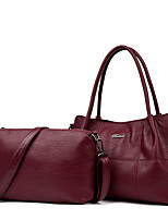 Women Bag Sets PU All Seasons Formal Casual Event/Party Wedding Office & Career Barrel Zipper Purple Ruby Black Blue