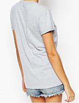 Ebay aliexpress chaud nouveau mot lettres imprimé t-shirt col rond sexy femme à manches courtes t-shirt femmes