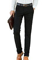 Men's Straight Slim Chinos PantsCasual/Daily Simple Solid Mid Rise Button Cotton Spandex Micro-elastic All Seasons HY-008