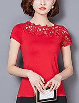 Women's Plus Size Casual/Daily Cute Street chic Summer Slim Lace T-shirt Patchwork Cut Out Round Neck Short Sleeve Polyester Spandex Thin