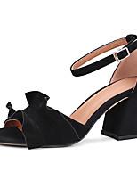 Damen-Sandalen-Büro Kleid Party & Festivität-Wildleder-Blockabsatz-Club-Schuhe-Schwarz Orange