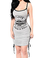 Women's Casual/Daily Simple Bodycon Dress,Print Round Neck Above Knee Sleeveless Cotton Summer Mid Rise Inelastic Medium
