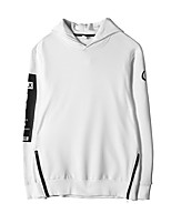 Men's Casual/Daily Going out Hoodie Letter Round Neck Micro-elastic Cotton Long Sleeve Fall Winter