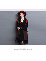 Women's Casual/Daily Simple Long Cloak / Capes,Striped V Neck Long Sleeve Wool Fall Medium Inelastic