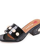 Damen-Slippers & Flip-Flops-Outddor Kleid Lässig-Kunstleder-Blockabsatz Block Ferse-T-Riemen-Weiß Schwarz
