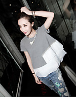 Women's Going out Casual/Daily Holiday Cute Street chic Spring Summer T-shirt,Solid Patchwork Round Neck Short Sleeve Others Thin