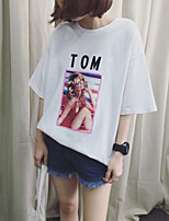 Summer new retro print short-sleeved t-shirt female letter loose big yards cotton 6535