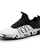 Herren-Sneaker-Outddor Lässig-Tüll PU-Flacher Absatz-Komfort-Weiß Schwarz und Gold Schwarz/weiss