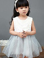 Girl's Casual/Daily Patchwork Dress,Cotton Polyester Summer Sleeveless