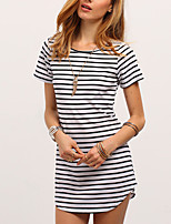 Women's Going out Casual/Daily Simple Sophisticated T-shirt,Striped Round Neck Short Sleeve Cotton Rayon