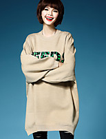 Women's Casual/Daily Simple Long Pullover,Solid Round Neck Long Sleeve Cotton Spring Fall Medium Micro-elastic