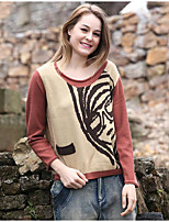 Women's Going out Casual/Daily Simple Regular Pullover,Solid Print Round Neck Long Sleeve Cotton Spring Fall Medium Micro-elastic