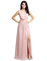 Formal Evening Dress Sheath / Column V-neck Floor-length Chiffon with Split Front