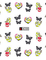 10pcs/set Fashion Sweet Style Nail Art Water Transfer Decals Beautiful Butterfly Romantic Rose Design Nail Beauty Decals A330