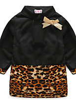 Girl's Solid Leopard Dress,Cotton Spring Fall Long Sleeve