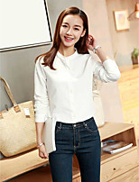 Women's Casual/Daily Simple Shirt,Solid Round Neck Long Sleeve Cotton Thin