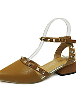 Women's Sandals Summer T-Strap Leatherette Outdoor Dress Casual Flat Heel Chunky Heel Block Heel Rivet Buckle Beige Light Brown Walking