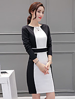Women's Casual/Daily Sheath Dress,Color Block Round Neck Above Knee Long Sleeve Polyester Spring Mid Rise Micro-elastic Medium