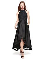 TS Couture Formeller Abend Kleid - Elegant A-Linie Schmuck Asymmetrisch Spitze Satin mit Spitze Plissee