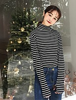Women's Casual/Daily Cute Spring T-shirt,Striped Round Neck Long Sleeve Cotton Medium