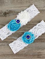 2pcs/set Blue And White Milk Satin Lace Chiffon Beading Wedding Garter