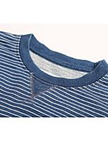 Sweatshirt Homme Décontracté / Quotidien Couleur Pleine Rayé Col Arrondi Micro-élastique Coton Manches Longues Automne