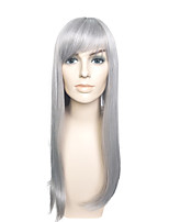Capless Long Gray Wig Straight Wig Costume Wig For Women With Bangs